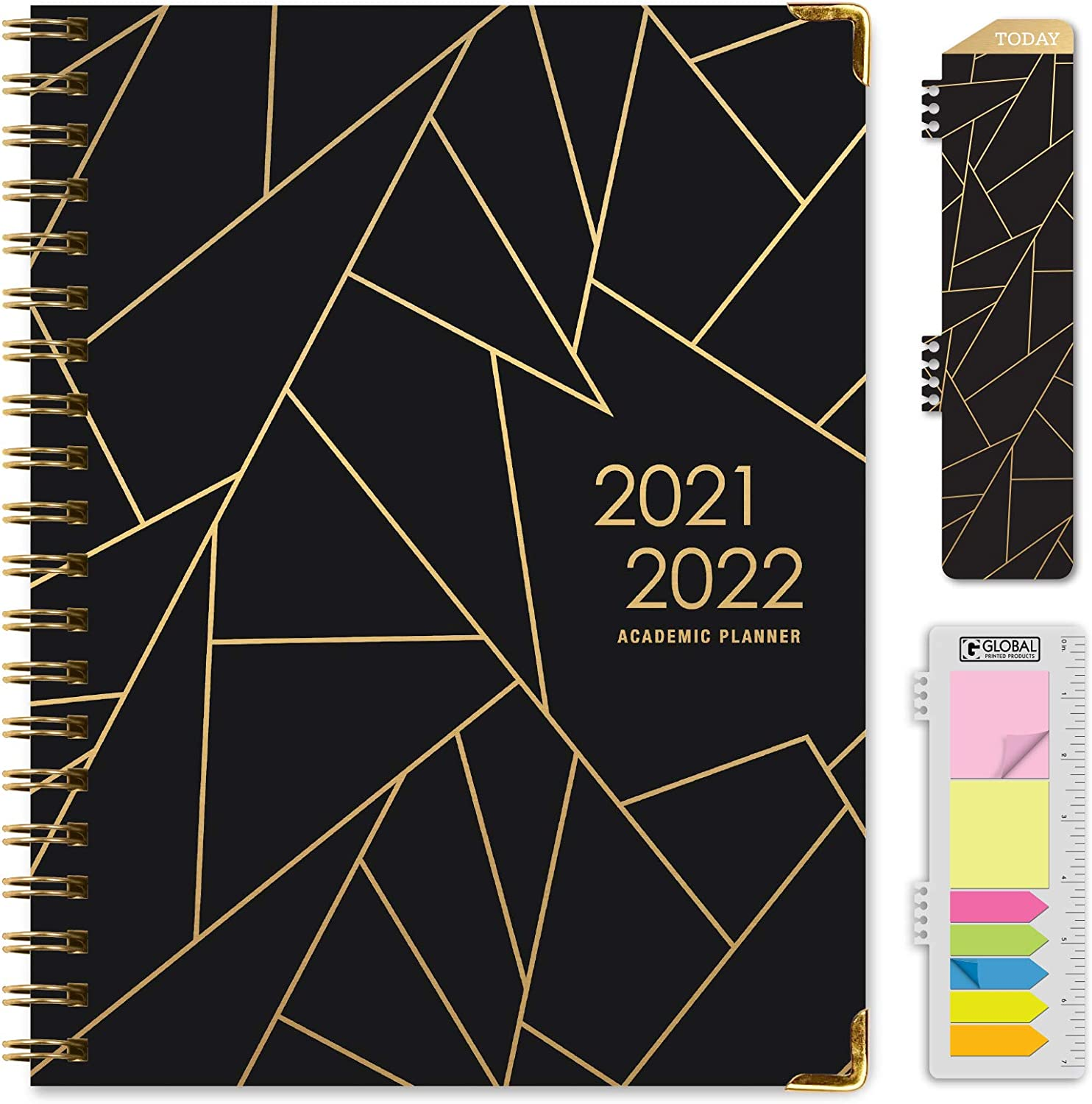 """HARDCOVER Academic Year 2021-2022 Planner: (June 2021 Through July 2022) 8.5""""x11"""" Daily Weekly Monthly Planner Yearly Agenda. Bookmark, Pocket Folder and Sticky Note Set (Black Gold Triangles) : Office Products"""