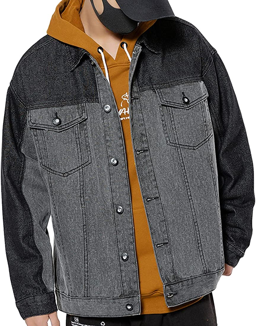 SeekMe Men's Retro Wash Direct sale of manufacturer Denim Fit Slim Jacket Long-awaited Trucker Patchwork