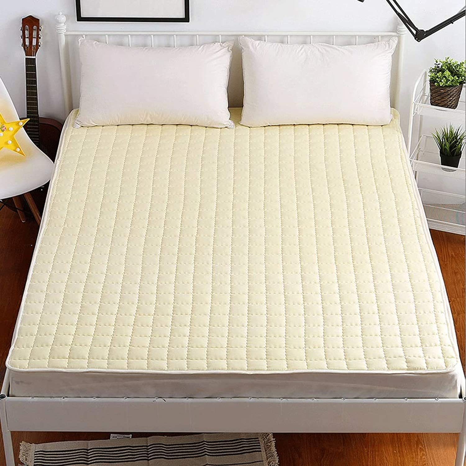 Foldable Mattress, Four Seasons Universal Bed Pad, High Resilience Cotton Fabric (color   Beige, Size   120CM)
