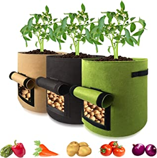 Grow Bags 7 Gallon Fabric Plant Pots with Handles Visualized Velcro window for Potatoes Tomatoes Carrot Onion Chili
