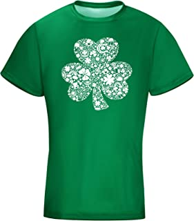 Unisex Clover Shamrock Lucky Charms Green Earth Day Short Sleeve T Shirt Irish Vintage Shirt (White Printed Shamrock, XL)
