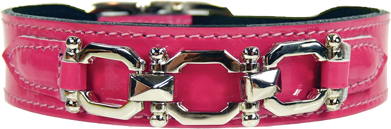Hartman & pink 3401 Georgia Dog Collar, 20 to 22Inch, Hot Pink Patent