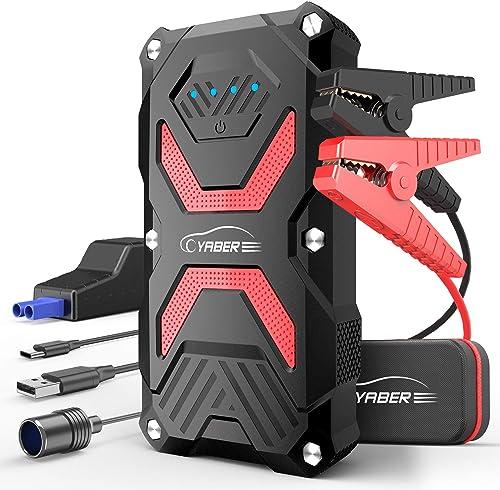YABER Booster Batterie, 1000A 13800mAh Booster Batterie Voiture Moto (Jusqu'à 6.0L Essence 5.0L Gazole) avec Lamp LED...