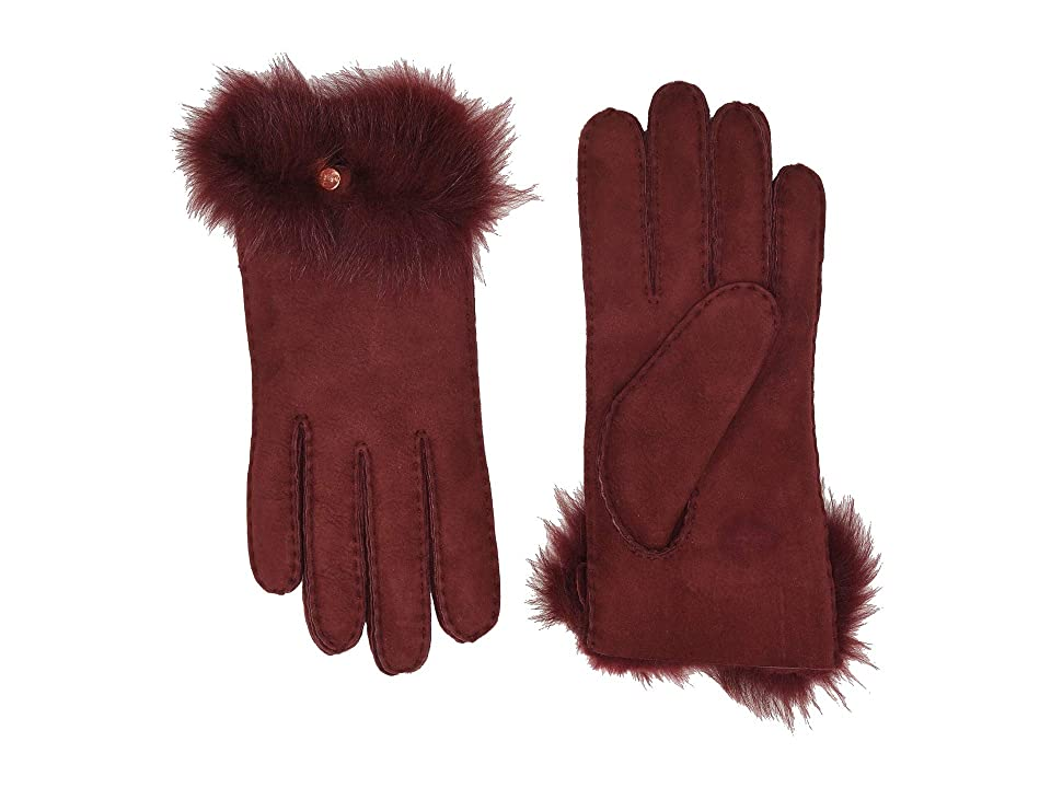 UGG Long Pile Bow Water Resistant Sheepskin Gloves (Port) Extreme Cold Weather Gloves