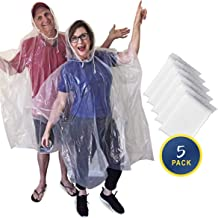 Rain Poncho with Drawstring Hood - 5 Pack - Clear Waterproof Emergency Ponchos for Adults - Extra Thick & Strong .03mm Plastic - Reusable or Disposable - Stay Dry Wherever Your Adventure Takes You!