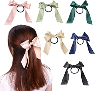 12pcs Bow Hair Scrunchies Satin Ribbon Elastic Hair Bands Ponytail Scrunchy Hair Ties Headdress for Women Girls, Add a Pop to Any Outfit