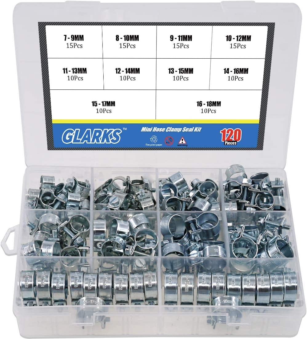 Glarks Max 87% OFF Max 57% OFF 120Pcs 10 Size Mini Fuel Clamp Injection Assor Style Hose