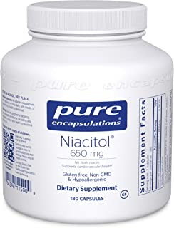 Pure Encapsulations - Niacitol 650 mg - Hypoallergenic No-Flush Niacin to Support Digestion, Hormone Synthesis, and Tissue Formation* - 180 Capsules
