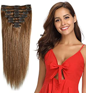 Clip in Remy Human Hair Extensions Light Brown 10