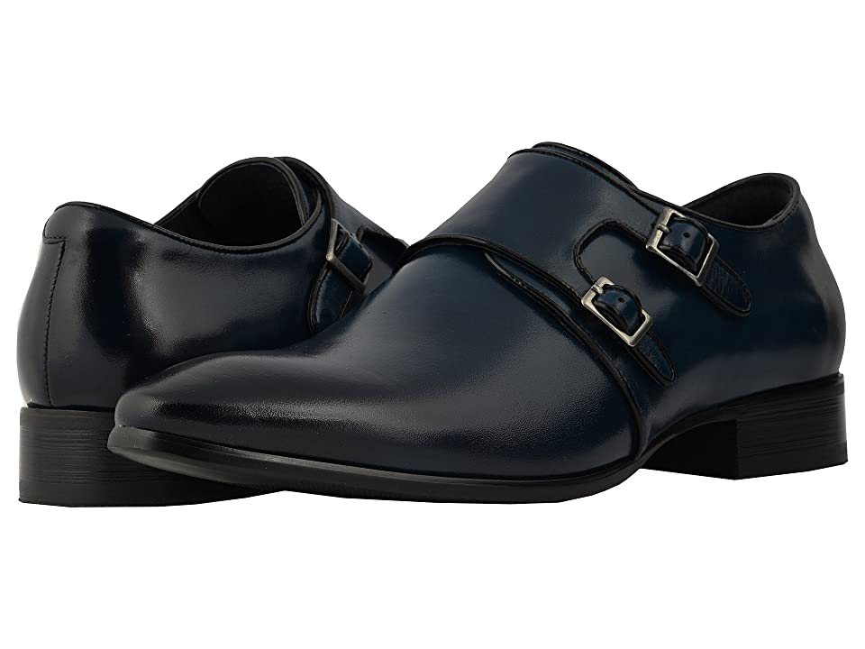 Stacy Adams Vance Plain Toe Double Monkstrap (Ink Blue/Black) Men