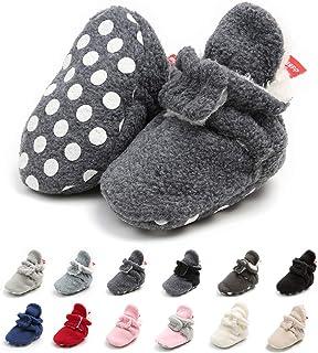 Meckior 新生儿女婴男童保暖羊毛冬靴*步行者拖鞋 E-deep Gray Wiith Hook&loop 6-12 Months Infant