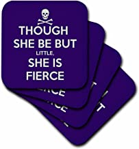 3dRose cst_128183_1 Though She Be But Little She is Fierce Shakespeare Humor Soft Coasters, Set of 4