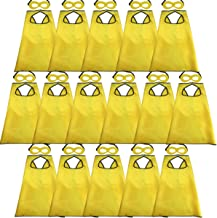 D.Q.Z Super Hero Capes for Kids Bulk with Masks Girls Boys Superhero Dress Up Party-16 Pack (Yellow)
