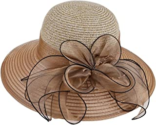 YiyiLai Large Brim Organza Flower Wedding Derby Kentucky Sun Hat Straw Cap