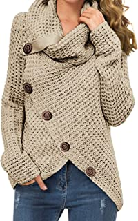 GRECERELLE Women's Solid Color Chunky Button Pullover...