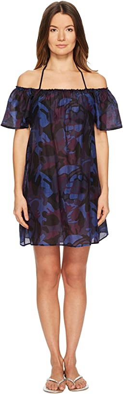 Festive Cotton Voile Camouflage Turtles Cover-Up