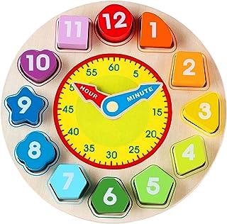 Jamohom Wooden Shape Sorting Clock-Teaching Time Shape Sorting Number Blocks, Stacking Sorter Jigsaw Montessori Early Lear...