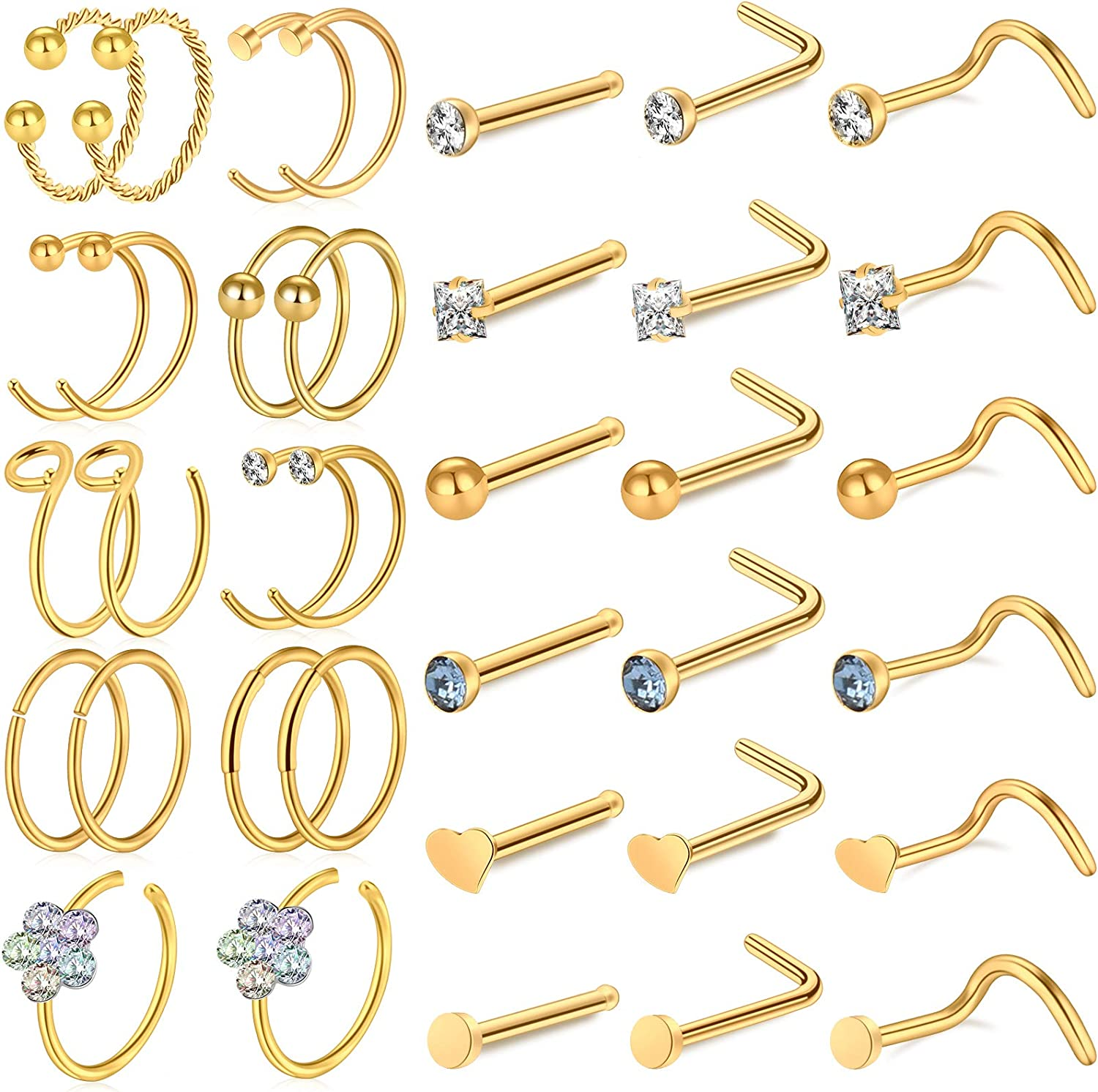 ONESING 36 Pcs Nose Rings for Women Nose Studs Nose Rings Hoop 20G Piercings Jewelry Screw Stainless Steel for Women Men
