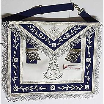 Masonic Apron -Past Master Apron Navy Blue Silver with Fringe (Blue & Silver)