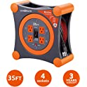 Link2Home 35' 4 Power Outlets Extension Cord Reel