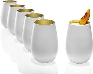 Stölzle Lausitz Gläser 465ml I Trinkgläser 6er Set I Cocktail Gläser spülmaschinenfest mit hoher Bruchresistenz I Universalgläser als Wassergläser Saftgläser Whisky Gläser I Weiß Gold