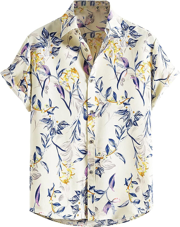 Men's Casual Button Down Floral Shirt Tropical Short Sleeve Hawaiian Beach Vacation Shirts Tops