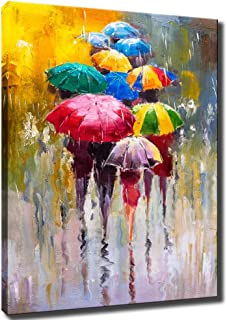 KLVOS Large Canvas Print Wall Art- 24x36 Colorful Umbrella Office Worker Walking in The Rain Canvas Oil Painting Picture Artworks Modern Landscape for Home Wall Decor Ready to Hang