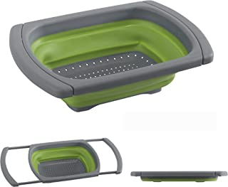 Collapsible Colander by Blissful Living – Space Saving Strong Silicone Strainer, Over the Sink Handles, Flat Folding, Expandable for Easy Storing- Great for Fruits/Vegetables, Pastas and More (Green)