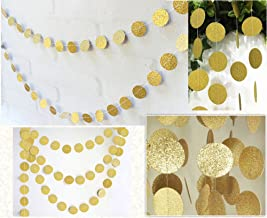 FECEDY Hanging Circle Dots Paper Glitter Champagne Gold Garland Bunting for Party 1pcs 13feet