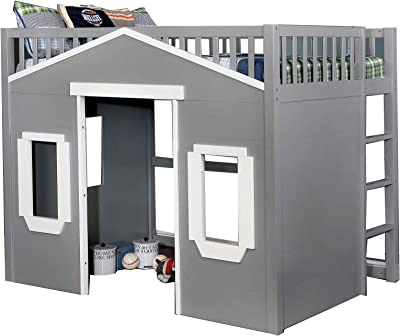 Benjara House Shaped Wooden Twin Loft Bed with Ladder, Gray and White