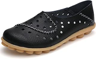 Women's Shoes Genuine Leather Casual Woman Driving Loafers Flats Shoes Large Size 35-44