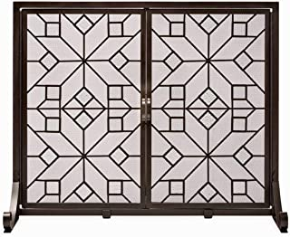 Plow & Hearth Large American Star Fireplace Screen with Glass Accents and Doors
