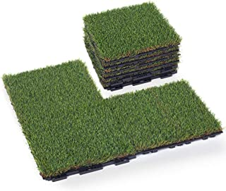 GOLDEN MOON Artificial Grass Turf Tile with Upgrade Interlocking System Self-draining Grass Tiles, 1x1 ft, 1 in Pile Height, 9 Pack