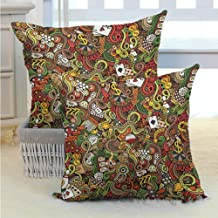 DuckBaby Couple Pillowcase Casino,Doodles Style Artwork of Bingo and Cards Excitement Checkers King Tambourine Vegas, Multicolor Pillowcase Hug Pillowcase Cushion Pillow W24 x L24 inch x 2