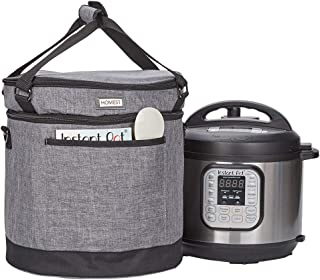 HOMEST 2 Compartments Carry Bag Compatible with 8 Quart Instant Pot, These Pressure Cooker Travel Tote Bag Have Accessory Pockets for Spoon, Measuring Cup, Steam Rack, 3 Case Sizes, Grey