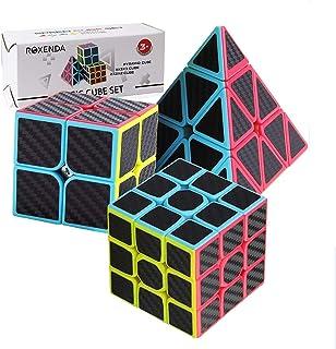 ROXENDA Ensemble Speed Cube, Pyramid 2x2x2 3x3x3 Vitesse Cube de Magique; Autocollant Spin Lisse Super Durable avec des Co...