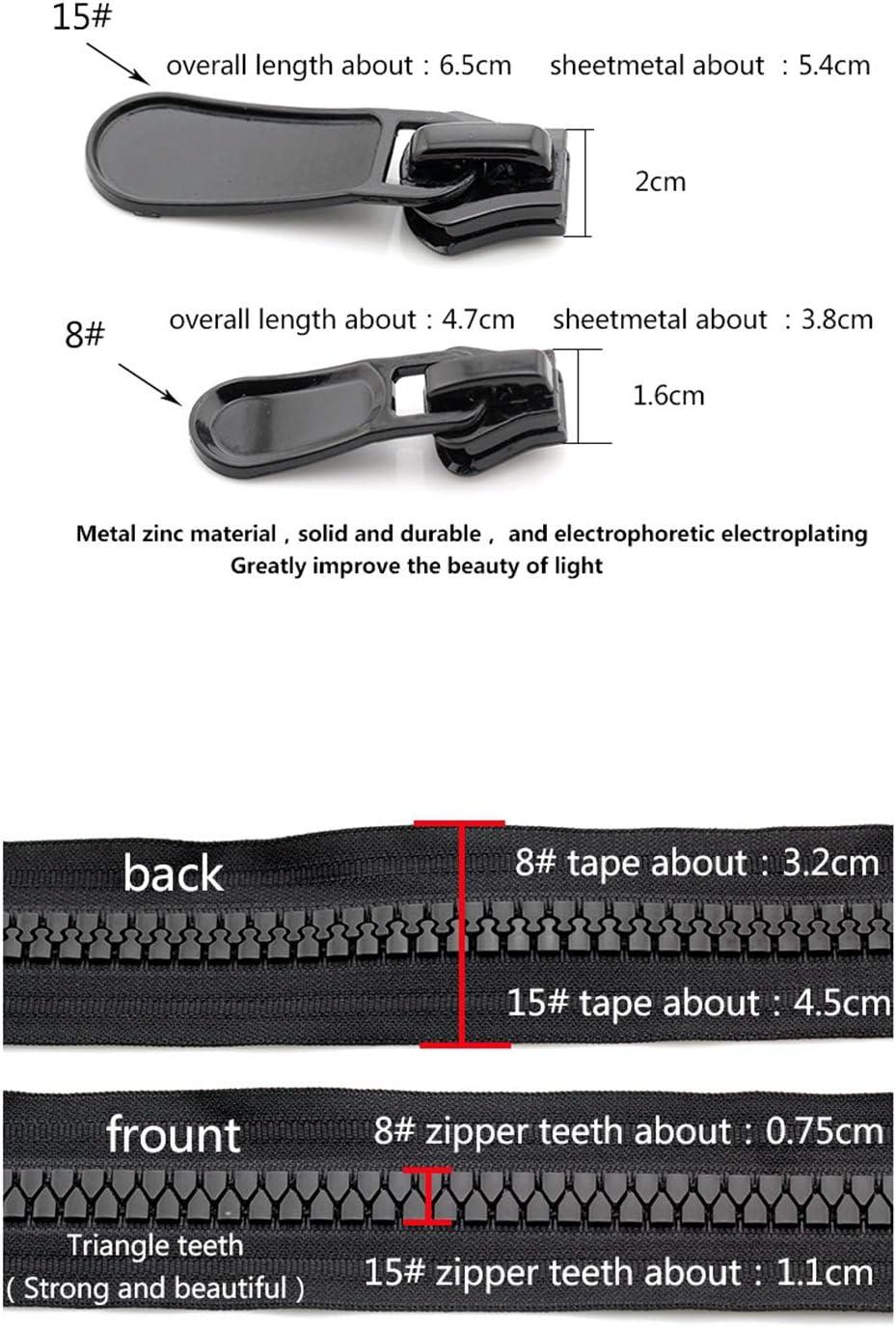 8 8# 15# o coser la cremallera 20//70//80//90//95//100//120//150cm Resina cremallera Primer Fin//Open-End//doble recorrido de la cerradura auto Ropa Cremallera Negro 100cm