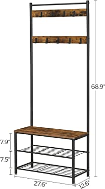 VASAGLE Entryway Coat Rack with Shoe Bench, Shoe Rack Organizer with Hall Tree, 3-in-1 Functional Coat Tree, Industrial, Rust