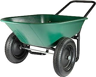 Marathon Yard Rover – 2 Tire Wheelbarrow Garden Cart – Green/Black