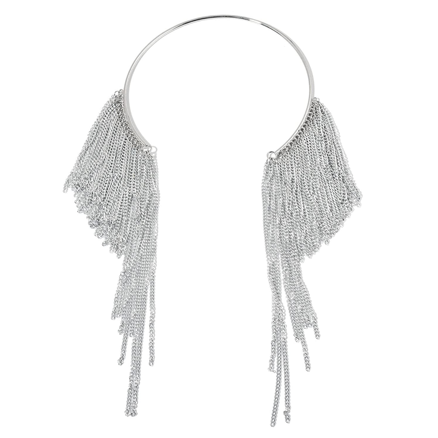 Shop LC Delivering Joy Designer Inspired Silvertone Open Fringe C-Collar 16 in