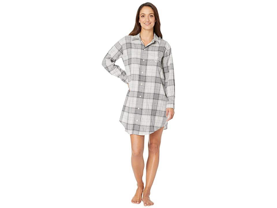 LAUREN Ralph Lauren Brushed Twill His Shirt Sleepshirt (Grey Plaid) Women