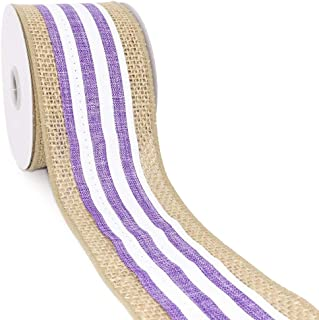 CT CRAFT LLC Natural Burlap with White/Purple Stripe Wired Ribbon - 2.5 Inch x 5 Yards x1 Roll