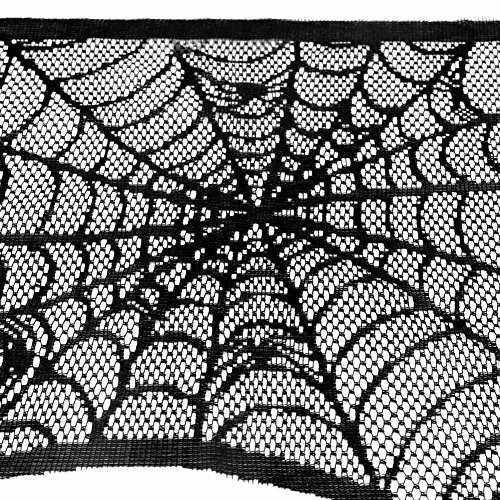 AerWo Halloween Decoration Black Lace Spiderweb Fireplace Mantle Scarf Cover Festive Party Supplies 45 X 243cm 18 x 96 inch