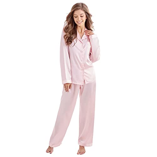 f0043582fc Tony   Candice Women s Classic Satin Pajama Set Sleepwear Loungewear