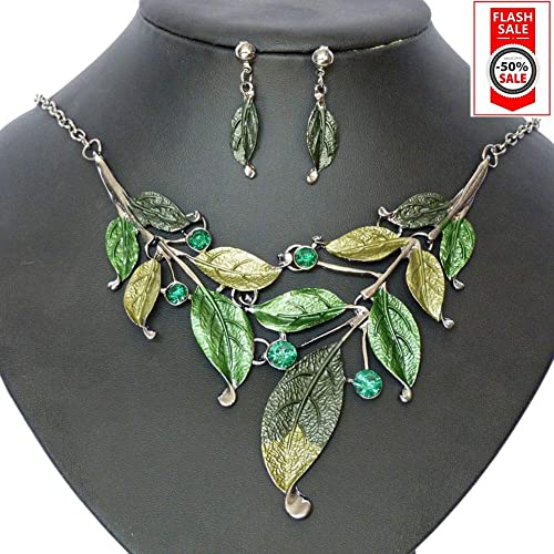 SevenAndEight Damen Kette Blätter Frauen Blatt Halskette & Ohrring Set Kette mit Ohrstecker Schmuck Set
