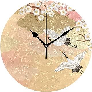 Chovy 掛け時計 置き時計 北欧 おしゃれ かわいい サイレント 連続秒針 壁掛け時計 インテリア 桜 鶴 富士山 和風 和柄 可愛い かわいい 部屋装飾 子供部屋 プレゼント