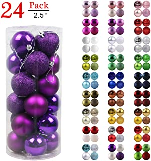 GameXcel Christmas Balls Ornaments for Xmas Tree - Shatterproof Christmas Tree Decorations Large Hanging Ball Purple 2.5