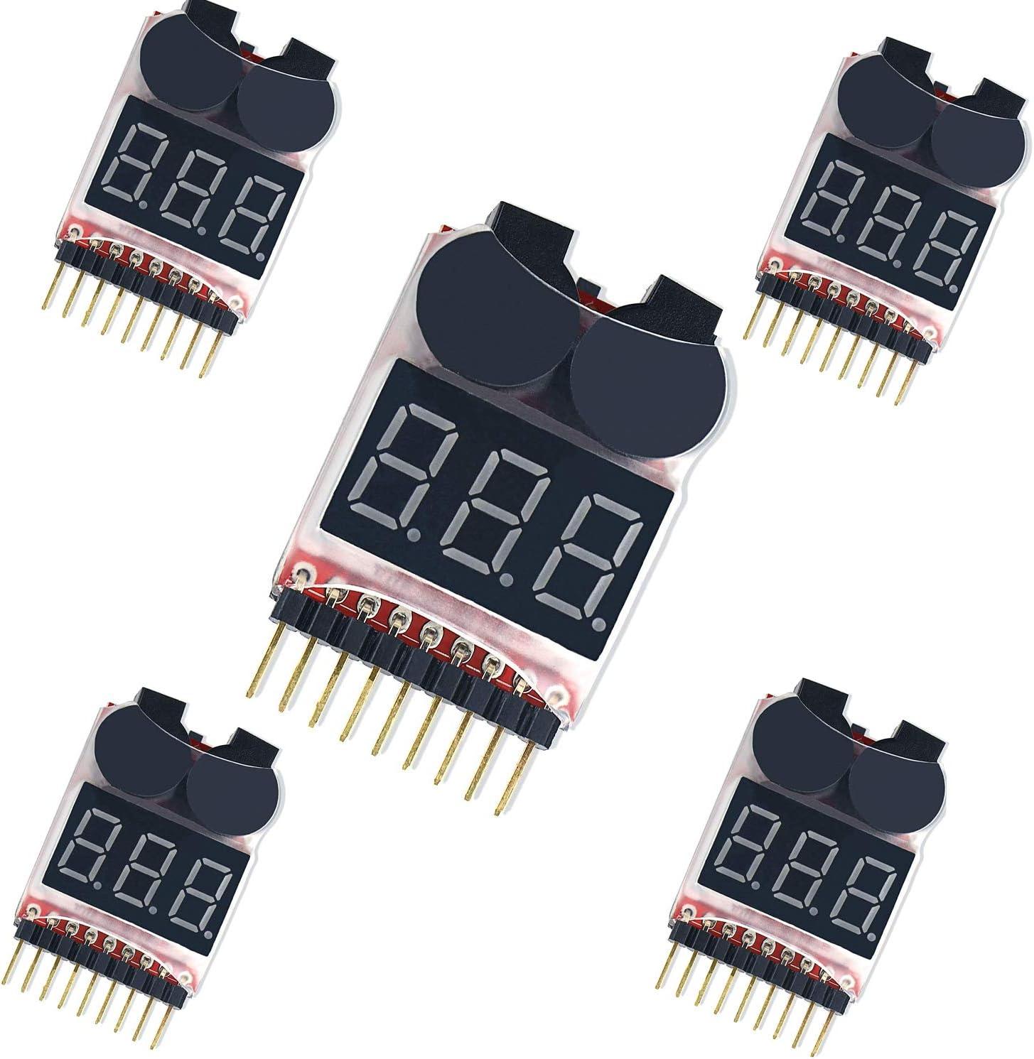 Adjustable 2PCS RC LiPo Battery Checker Battery Tester Monitor for 1-8S Lipo//Li-Fe//LIMn//Li-ion Battery Lipo Voltage Alarm