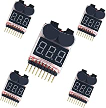 5PCS LiPo Battery Tester,RC 1-8S Battery Checker Monitor,Low Voltage Buzzer Alarm for RC Helicopter/Plane/Drones
