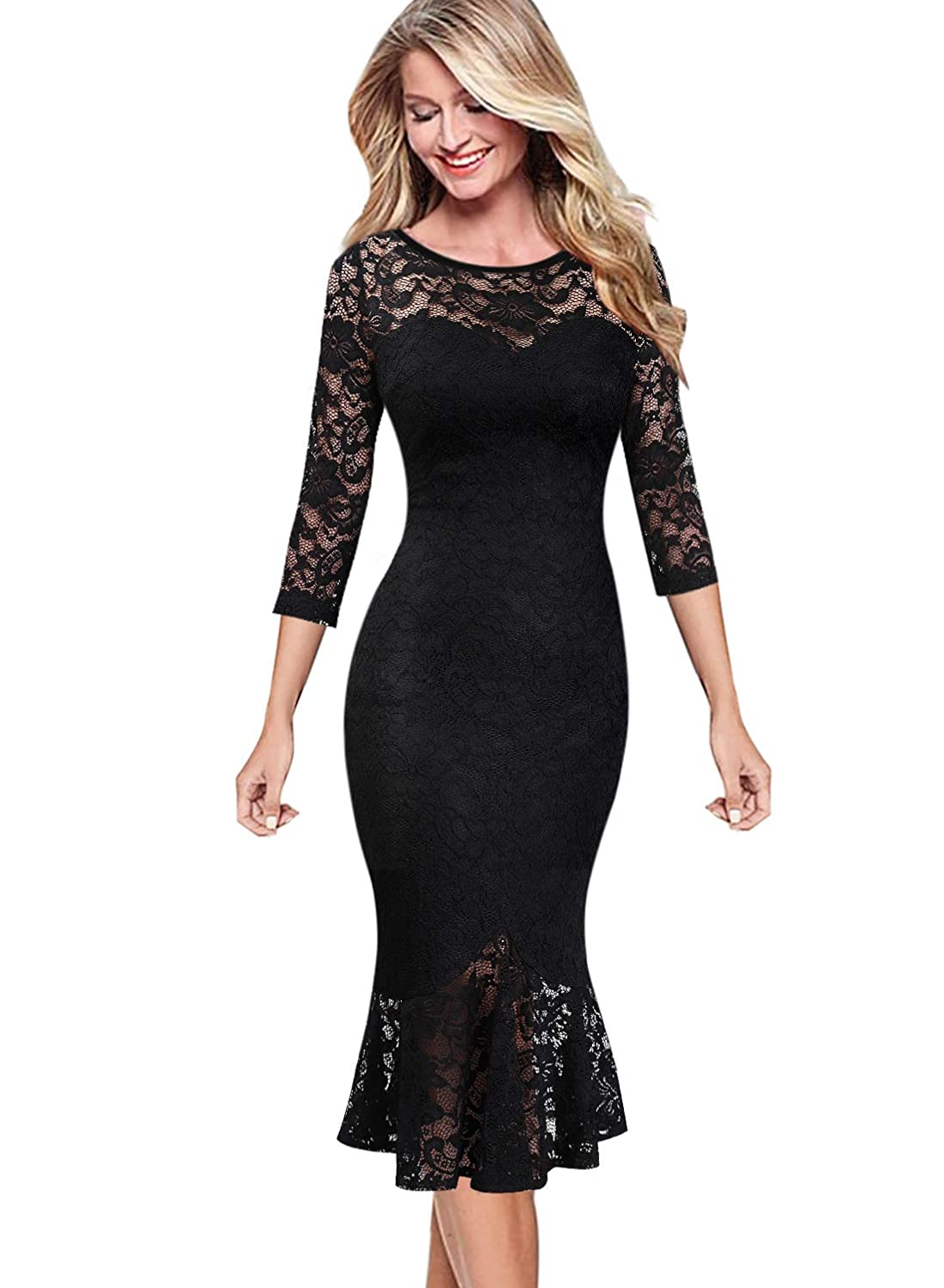 VFSHOW Womens Elegant Floral Lace Cocktail Party Mermaid Midi Mid-Calf Dress 1219 BLK XL